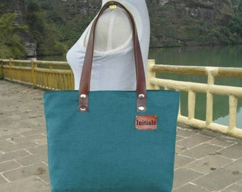 Fathers Day Sale 20% off Teal green canvas tote bag, leather strap shoulder bag for women with personalized tag.