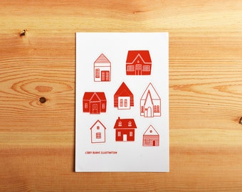 Little Houses Sticker Sheet