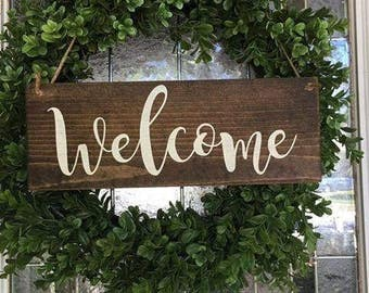 Welcome Sign - Welcome Wreath Sign - Welcome Wood Sign - Front Door Sign - Hanging Welcome Sign - Front Porch Sign - Southern Decor