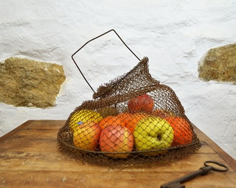 Vintage French wire basket  Fishing creel collapsible