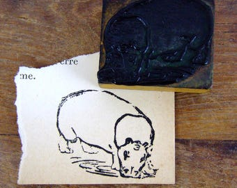 French rubber stamp hippopotamus hippo Africa zoo animal vintage school