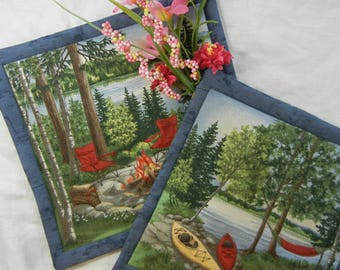 Quilted Trivets (2) - Camping Canoes and Fire  Set #3