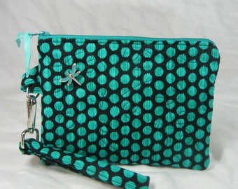Quilted Wristlet - Detachable Strap - Bright Dots - Teal on Black