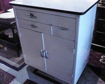 Vintage Metal Cabinet with Porcelain Top