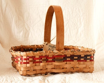 Bread Muffin Basket multicolored red blue plum green brown w/ solid oak handle