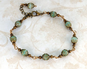 GREEN Victorian Bracelet Light Green Antique Brass Bracelet Vintage Style GEMSTONE Jewelry Victorian Steampunk Jewelry VictorianCuriosities