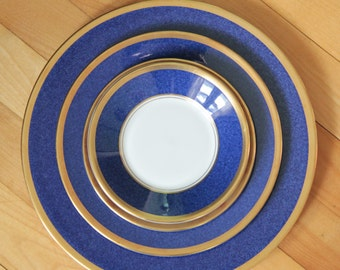 COALPORT ATHLONE BLUE 4 Piece Place Setting Bone China Dishes - Dinner Plate, Salad Plate, Bread & Butter Plate, Saucer