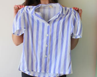 Vintage PURPLE and White Striped Blouse..womens. mod. urban. womens. ladies. mad men. vintage blouse. flowy top. soho. fancy. xsmall small
