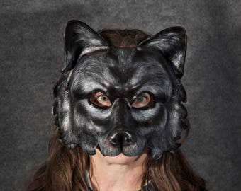 Black Wolf, Wolf, Wolf Mask, Canis Lupus, Lobo, Leather Wolf Mask, Shadow Dog, Howling, Full Moon