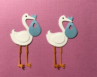 4 Storks with Blue Bundles Embellishments Scrapbooking Die Cuts New Baby Boy Girl Paper Crafts Free Post Australia wide