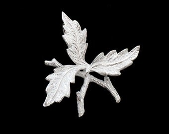 1 of 925 Sterling Silver Leaf  Branch Charm 30mm. Matte Finish. :th2532