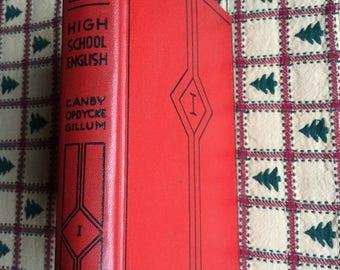 Antique School English Book - 1937 - Red Hardcover Book - High School English Book