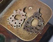RESERVED for K... Set of 2 Antique filigree charms, pendants, connectors, finding, dark patina broken loops!