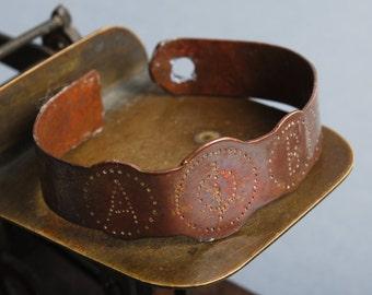 Antique metal plate, part of copper bracelet, finding, dark patina