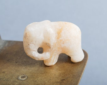 Antique small miniature elephant sculpture carved from marble, home decor