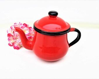 Vintage Enamelware Teapot   Enamel Tea Pot   Graniteware   Small Teapot
