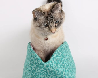 Cat Canoe in teal and purple cotton fabrics a modern pet bed design - Made in Washington