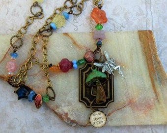 Fairy Tale Necklace, Once Upon A Time, , Fairy and Mushroom, Fantasy Jewelry, Fairy Tale Jewelry, Fairy Jewelry