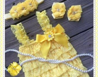 Easter romper set,Posh Vintage Yellow Rosette Romper set,yellow Romper, petti romper, Girls Romper, Ruffle Romper,