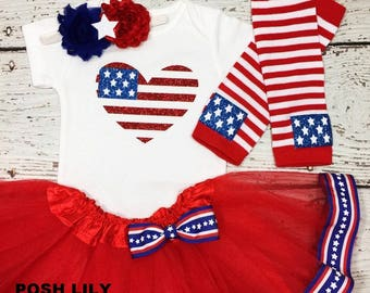 4th of July tutu set, Patriotic red and blue tutu outfit, 4th of July Outfit,  miss USA baby Outfit,  Sparkly Glitter American flag top