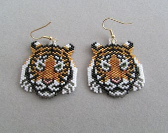 Beaded Tiger Earrings