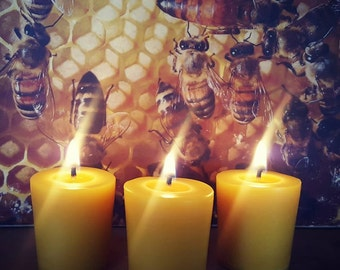 Three Handmade Beeswax Votives - Made in America - Buy 10 get 2 Free !