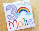 Rainbow Birthday Party - Number Shirt - Personalized - Name Girls Embroidery - Applique