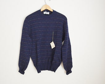 Vintage 80s Navy Blue Patterned Sweater -- Deadstock -- Mens small