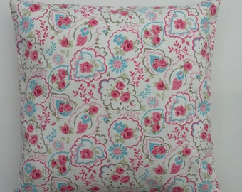 Paisley Cushion Cover, pink paisley pillow,cover, pink floral on white pillow cover, cottage chic cushion Cover, Various Size Options,