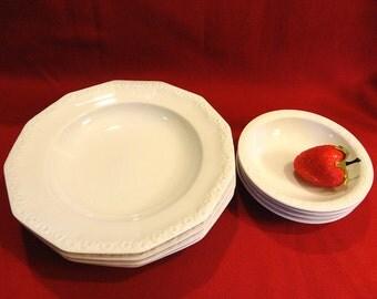 4 Rim Soup Bowls 4 Dessert Bowls Rosenthal Classic Rose Maria White Pattern Sets Sold Separately