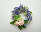 Lovely Lavender Miniature Wreath with Peach Floral Accent, 12th Scale