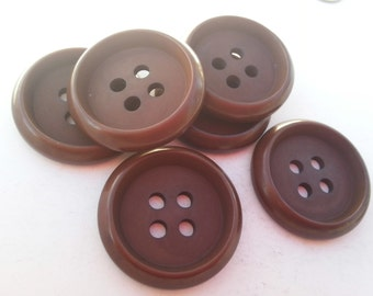 """6 Chocolate Brown Inside Hole Round Buttons Size 1 1/8""""."""