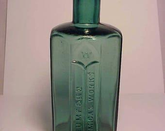 c1880s Rumford Chemical Works Rumford, R.I. Teal Green Blown Glass Cork Top Medicine Bottle No. 6
