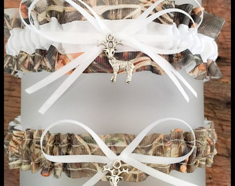 Sexy Realtree Max 5 White Satin Wedding Keepsake Or Garter Set - Bridal Set - Pick Your Charm - Camouflage Prom Weddings Accessories