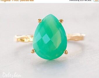 SALE - Mint Chrysoprase Ring - Gemstone Ring - Stacking Ring - Gold Ring - Tear Drop Ring - Prong Set Ring