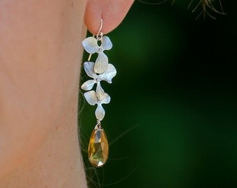 40 OFF - Faceted Bear Quartz stones with Matte Finished Silver Plated Orchid Flowers -Mother's Day Gift