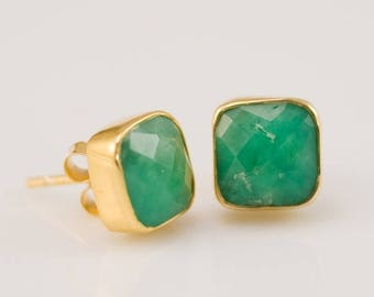 40 OFF - Chrysoprase Stud Earrings - Cushion Cut Chrysoprase Stud Post Earrings - Gold Stud Gemstone Earrings