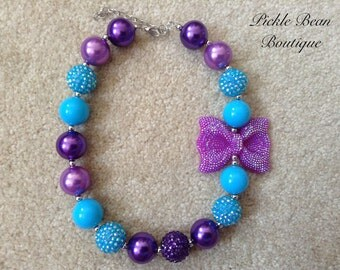 Bubblegum Necklace, Purple and Turquoise Necklace, Chunky Baby Necklace, Girls Kids Necklace, Bubble Gum Necklace, 1st Birthday Outfit