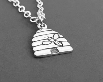Sterling Silver Beehive Charm Necklace, Freshwater Pearl, Sterling Silver Chain, Gift for Her