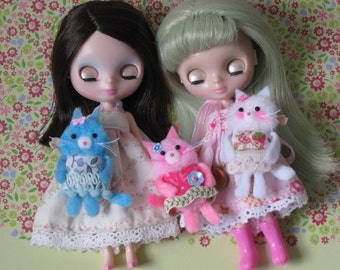 OOAK Miniature Kawaii WHITE Kitty Plush For Your Dolly