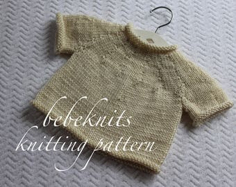 Bebeknits French Style Estelle Baby Pullover Sweater Knitting Pattern