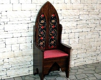 Gothic Chair, Floral Decorated Chair, Medieval Dollhouse Miniature, 1/12 Scale, Hand Made
