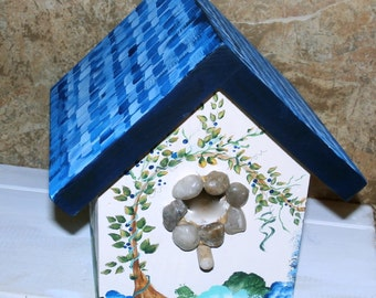 Hand Crafted  Birdhouse -Indoor/Outdoor Bird House