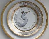 Beautiful Gold Egret Bird Dinnerware / Plates, Various Sizes and Patterns