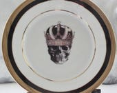 Black & Gold Skull Plate(s), Extremely Durable / Foodsafe, Skull China, Skeleton Plates, Halloween Plates, Halloween China, CUSTOMIZABLE