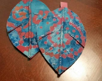 Leather earrings, leaf design, fabric, leather, glitter paint, medium in size.