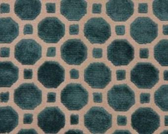 Designer Pillow Cover -Velvet Geo - Turquoise
