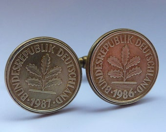 Cufflinks: 50% OFF antique gold finish with German 2 Pfennig coin insert with Oak Leaf
