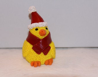 Christmas Chick in Hat and Scarf