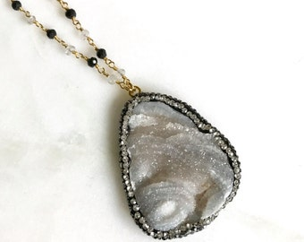 Grey Druzy Pendant Necklace with Rhinestones and Black Beaded Chain. Long Druzy Necklace. Jewelry Gift. Quartz Necklace.